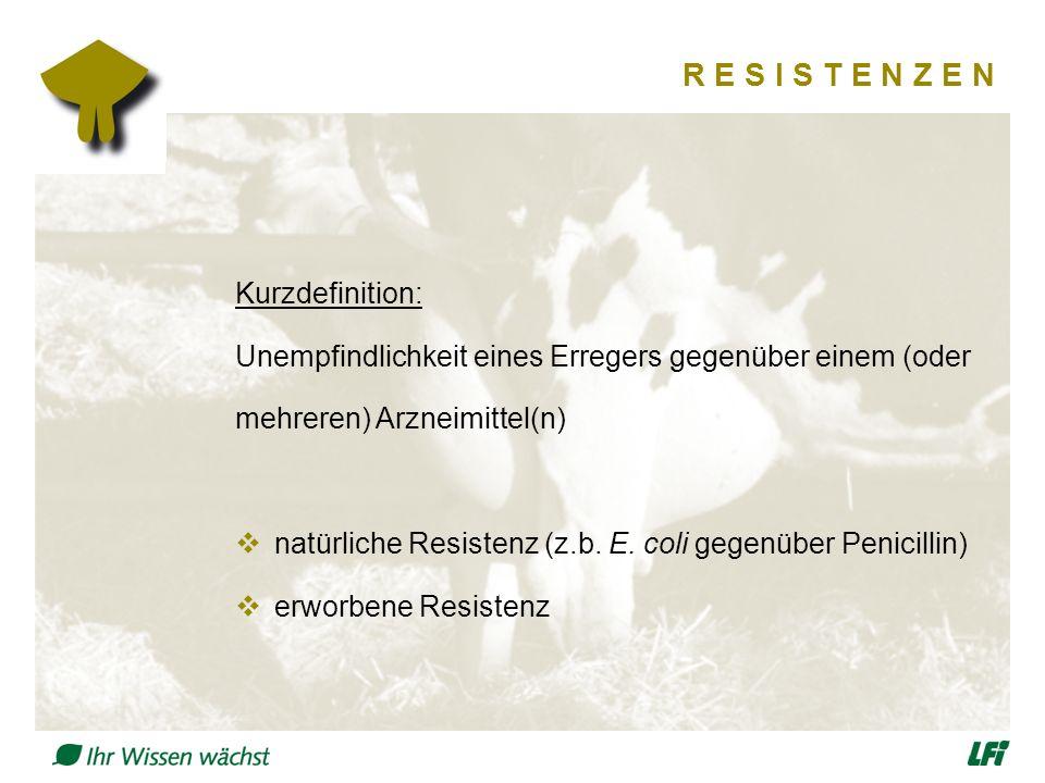 R E S I S T E N Z E N Kurzdefinition: Unempfindlichkeit eines Erregers gegenüber einem (oder mehreren) Arzneimittel(n)  natürliche Resistenz (z.b. E.
