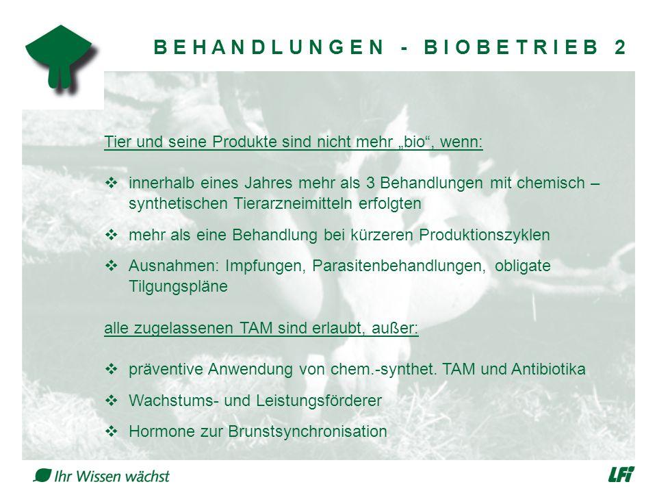 """B E H A N D L U N G E N - B I O B E T R I E B 2 Tier und seine Produkte sind nicht mehr """"bio , wenn:  innerhalb eines Jahres mehr als 3 Behandlungen mit chemisch – synthetischen Tierarzneimitteln erfolgten  mehr als eine Behandlung bei kürzeren Produktionszyklen  Ausnahmen: Impfungen, Parasitenbehandlungen, obligate Tilgungspläne alle zugelassenen TAM sind erlaubt, außer:  präventive Anwendung von chem.-synthet."""