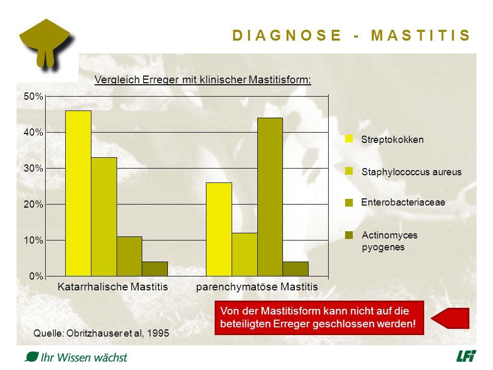 D I A G N O S E - M A S T I T I S Vergleich Erreger mit klinischer Mastitisform: Quelle: Obritzhauser et al, 1995 0% 10% 20% 30% 40% 50% Katarrhalische Mastitisparenchymatöse Mastitis Streptokokken Staphylococcus aureus Enterobacteriaceae Actinomyces pyogenes Von der Mastitisform kann nicht auf die beteiligten Erreger geschlossen werden!
