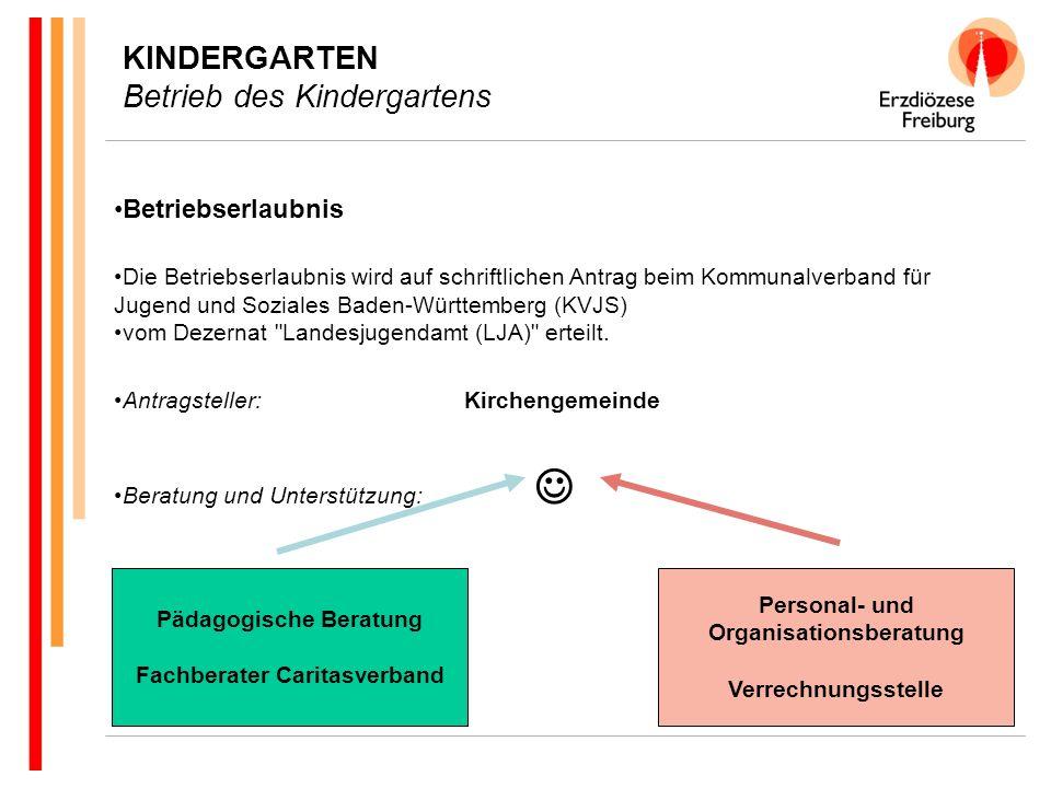 KINDERGARTEN Betrieb des Kindergartens Betriebserlaubnis Die Betriebserlaubnis wird auf schriftlichen Antrag beim Kommunalverband für Jugend und Soziales Baden-Württemberg (KVJS) vom Dezernat Landesjugendamt (LJA) erteilt.