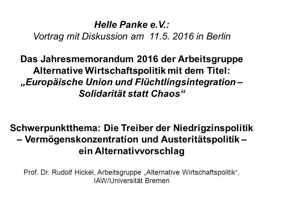 Helle Panke e.V.: Vortrag mit Diskussion am 11.5. 2016 in Berlin Das Jahresmemorandum 2016 der Arbeitsgruppe Alternative Wirtschaftspolitik mit dem Ti