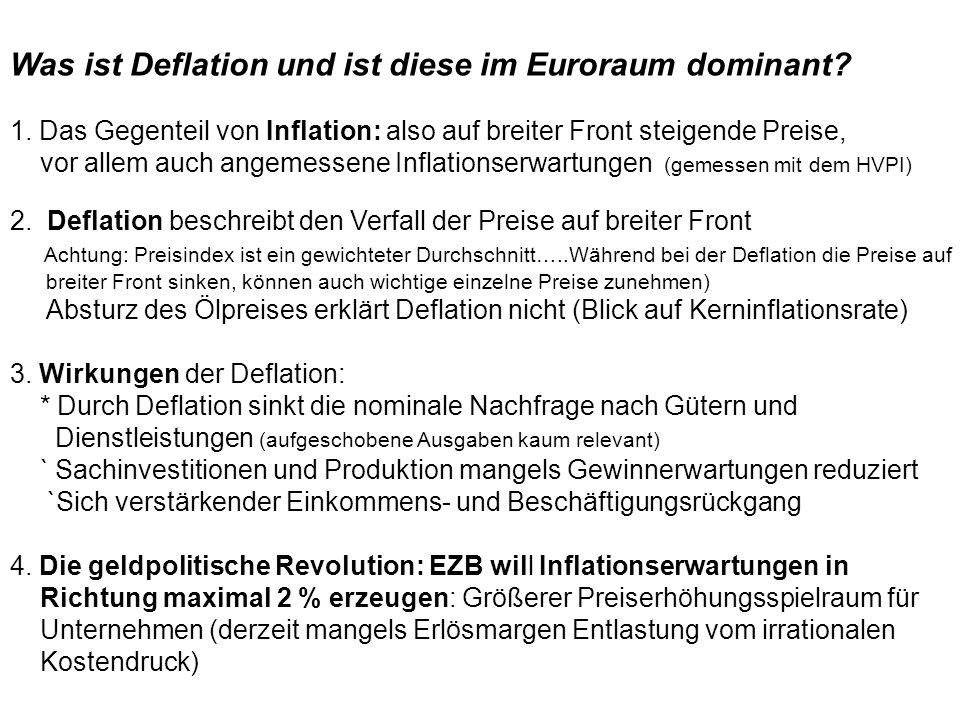 Was ist Deflation und ist diese im Euroraum dominant? 1. Das Gegenteil von Inflation: also auf breiter Front steigende Preise, vor allem auch angemess