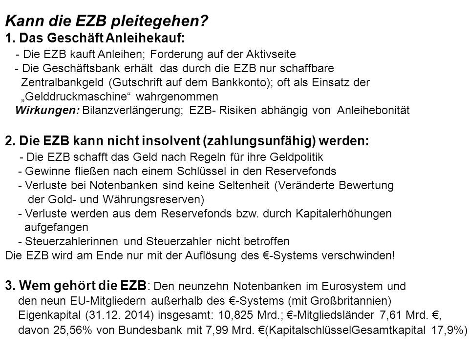 Kann die EZB pleitegehen? 1. Das Geschäft Anleihekauf: - Die EZB kauft Anleihen; Forderung auf der Aktivseite - Die Geschäftsbank erhält das durch die