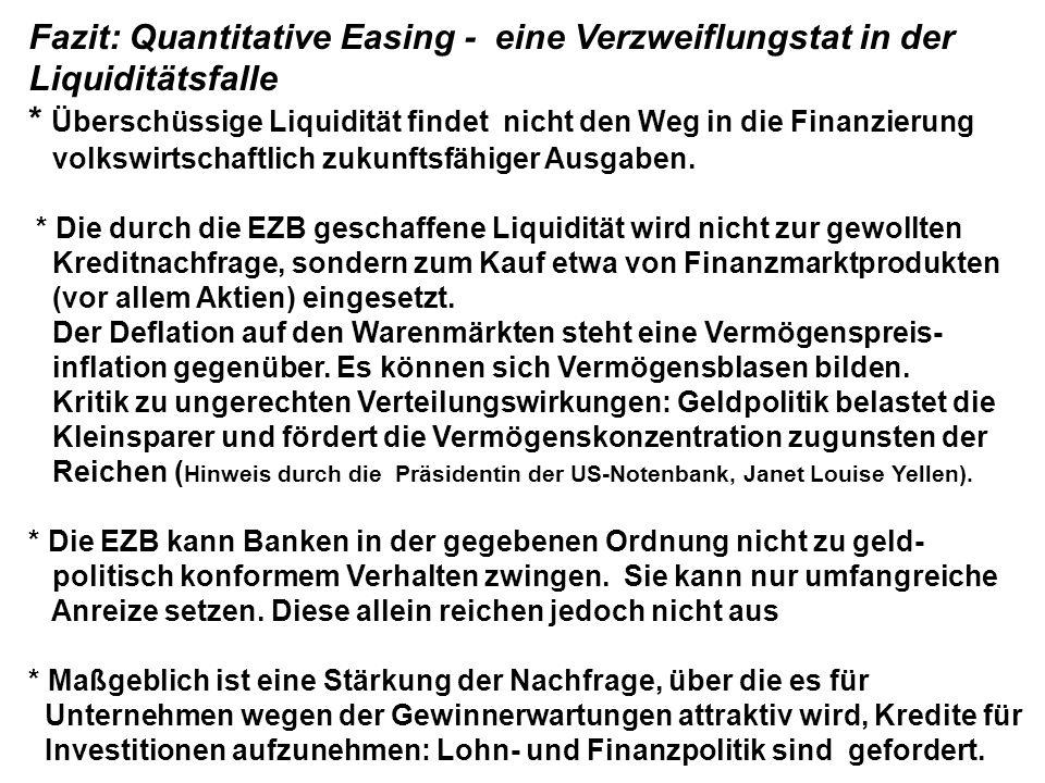 Fazit: Quantitative Easing - eine Verzweiflungstat in der Liquiditätsfalle * Überschüssige Liquidität findet nicht den Weg in die Finanzierung volkswirtschaftlich zukunftsfähiger Ausgaben.