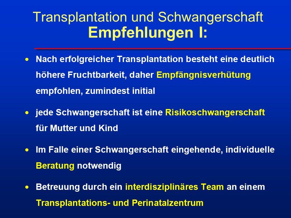 Transplantation und Schwangerschaft Empfehlungen I:  Nach erfolgreicher Transplantation besteht eine deutlich höhere Fruchtbarkeit, daher Empfängnisverhütung empfohlen, zumindest initial  jede Schwangerschaft ist eine Risikoschwangerschaft für Mutter und Kind  Im Falle einer Schwangerschaft eingehende, individuelle Beratung notwendig  Betreuung durch ein interdisziplinäres Team an einem Transplantations- und Perinatalzentrum
