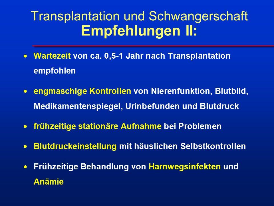 Transplantation und Schwangerschaft Empfehlungen II:  Wartezeit von ca. 0,5-1 Jahr nach Transplantation empfohlen  engmaschige Kontrollen von Nieren