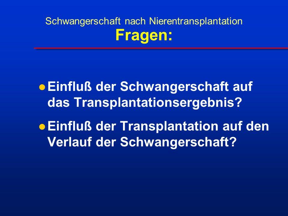 Einfluß der Schwangerschaft auf das Transplantationsergebnis? Einfluß der Transplantation auf den Verlauf der Schwangerschaft? Schwangerschaft nach Ni