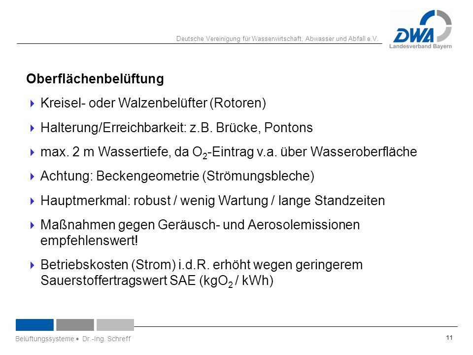 Deutsche Vereinigung für Wasserwirtschaft, Abwasser und Abfall e.V. Oberflächenbelüftung  Kreisel- oder Walzenbelüfter (Rotoren)  Halterung/Erreichb