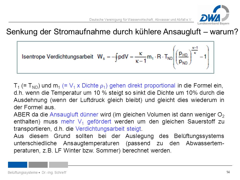 Deutsche Vereinigung für Wasserwirtschaft, Abwasser und Abfall e.V. Senkung der Stromaufnahme durch kühlere Ansaugluft – warum? T 1 (= T ND ) und m 1