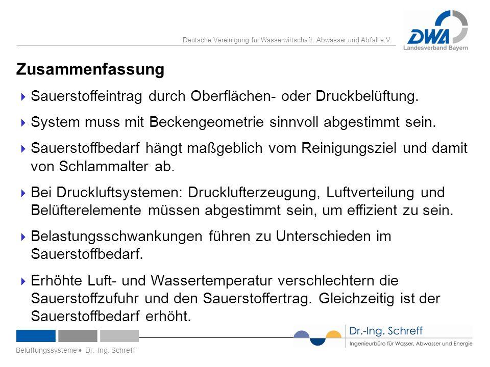 Deutsche Vereinigung für Wasserwirtschaft, Abwasser und Abfall e.V. 21 Zusammenfassung  Sauerstoffeintrag durch Oberflächen- oder Druckbelüftung.  S