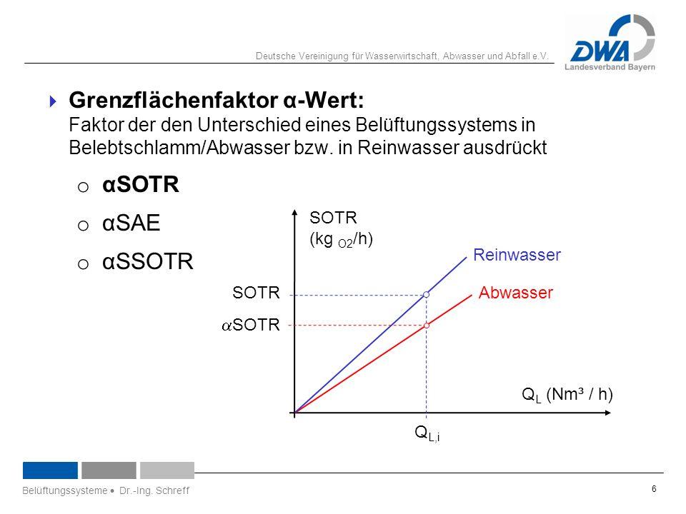 Deutsche Vereinigung für Wasserwirtschaft, Abwasser und Abfall e.V.  Grenzflächenfaktor α-Wert: Faktor der den Unterschied eines Belüftungssystems in