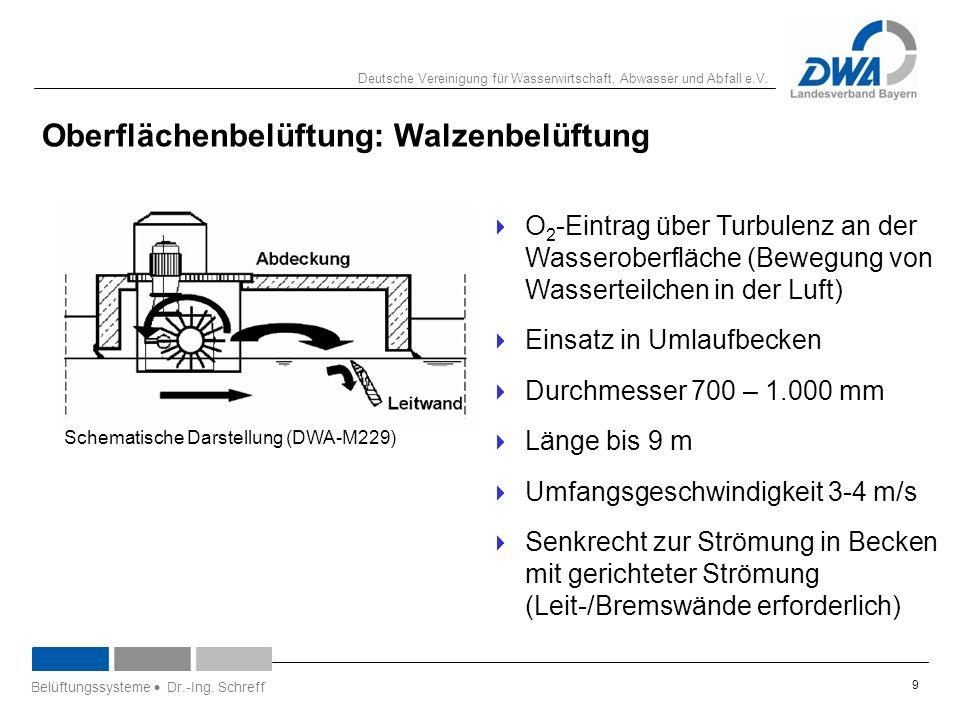 Deutsche Vereinigung für Wasserwirtschaft, Abwasser und Abfall e.V. 9 Oberflächenbelüftung: Walzenbelüftung  O 2 -Eintrag über Turbulenz an der Wasse