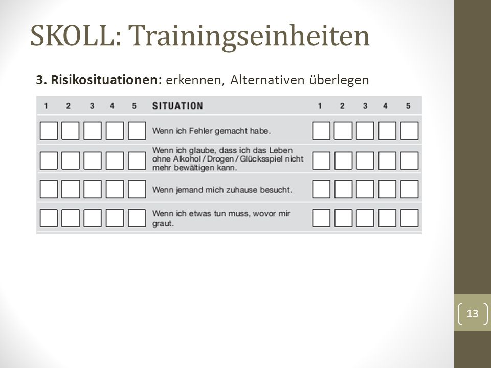 SKOLL: Trainingseinheiten 3. Risikosituationen: erkennen, Alternativen überlegen 13
