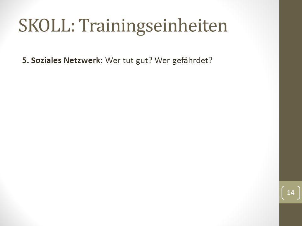 SKOLL: Trainingseinheiten 5. Soziales Netzwerk: Wer tut gut Wer gefährdet 14