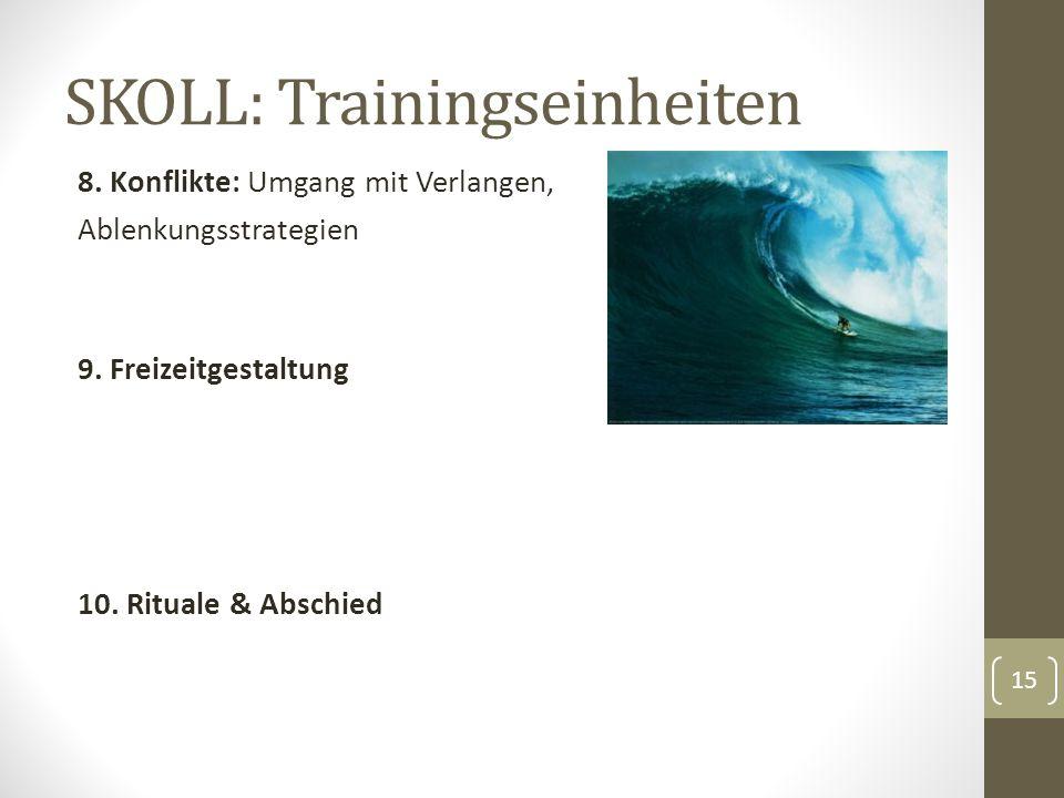SKOLL: Trainingseinheiten 8. Konflikte: Umgang mit Verlangen, Ablenkungsstrategien 9.