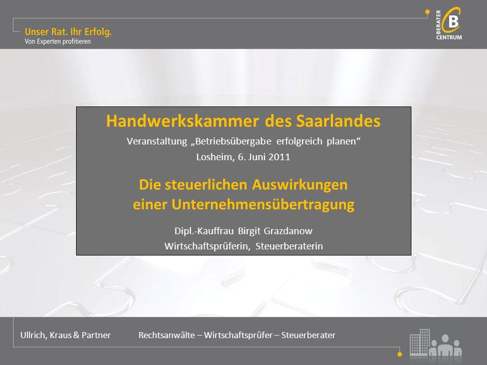 """Handwerkskammer des Saarlandes Veranstaltung """"Betriebsübergabe erfolgreich planen Losheim, 6."""