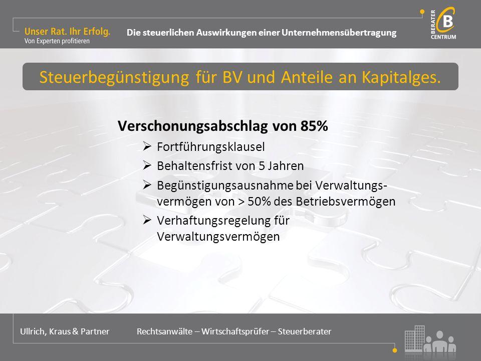 Verschonungsabschlag von 85%  Fortführungsklausel  Behaltensfrist von 5 Jahren  Begünstigungsausnahme bei Verwaltungs- vermögen von > 50% des Betriebsvermögen  Verhaftungsregelung für Verwaltungsvermögen Steuerbegünstigung für BV und Anteile an Kapitalges.