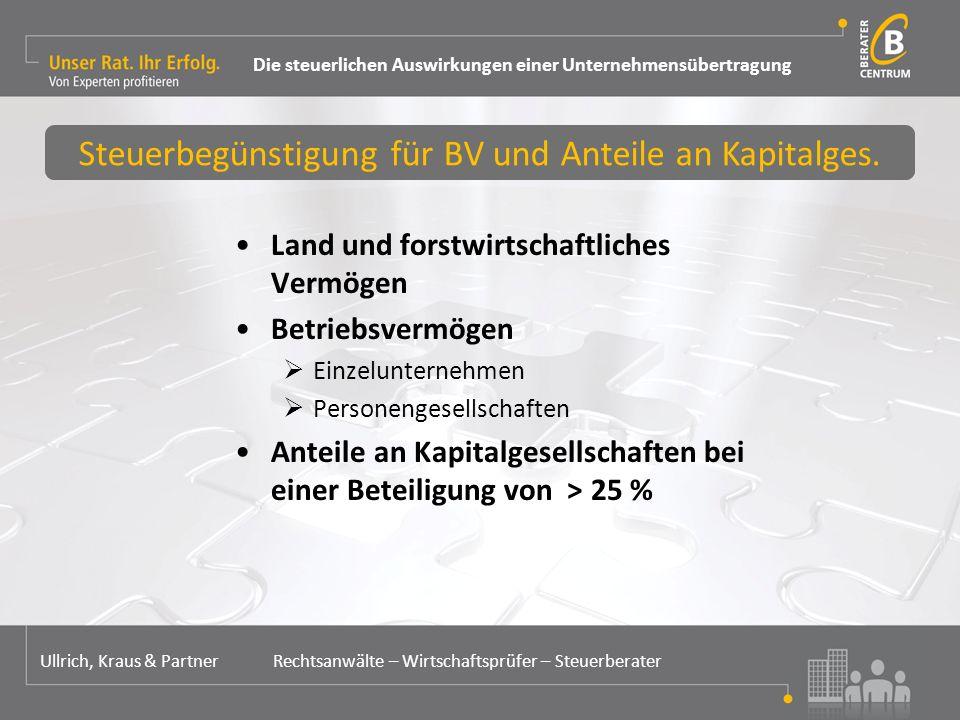 Land und forstwirtschaftliches Vermögen Betriebsvermögen  Einzelunternehmen  Personengesellschaften Anteile an Kapitalgesellschaften bei einer Beteiligung von > 25 % Steuerbegünstigung für BV und Anteile an Kapitalges.