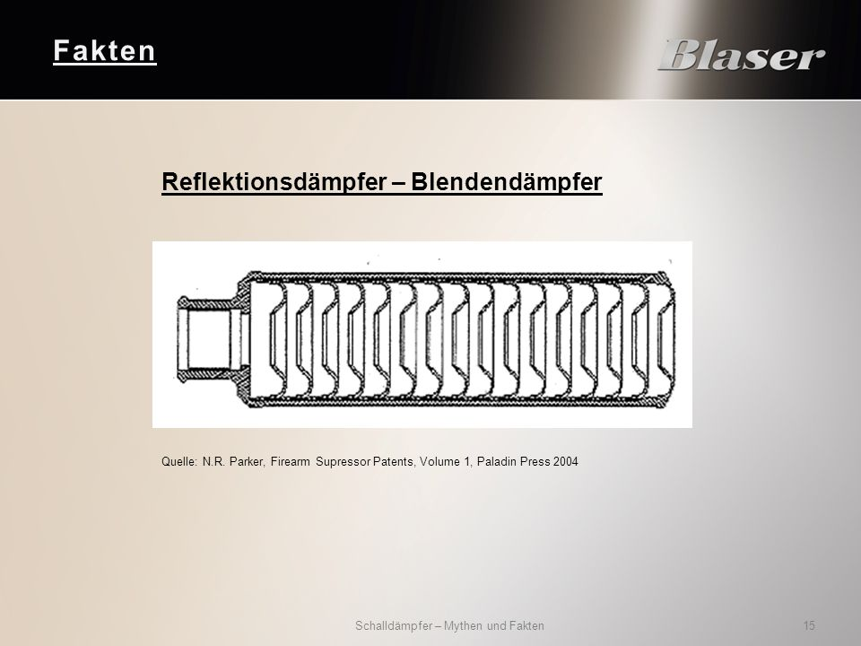 Fakten Schalldämpfer – Mythen und Fakten 15 Reflektionsdämpfer – Blendendämpfer Quelle: N.R. Parker, Firearm Supressor Patents, Volume 1, Paladin Pres