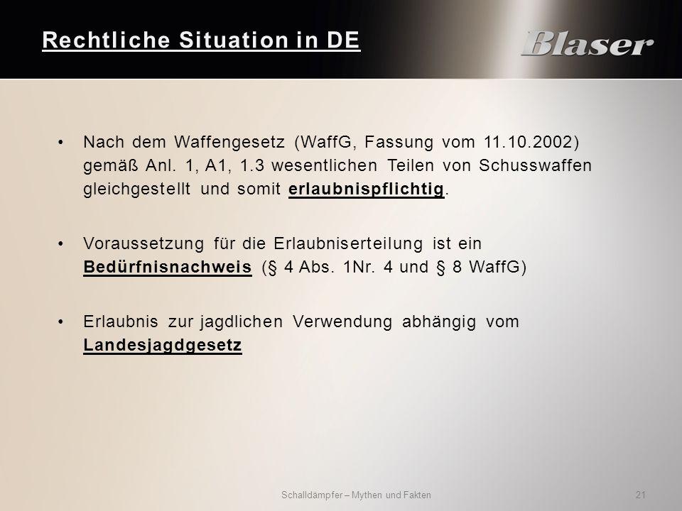 Nach dem Waffengesetz (WaffG, Fassung vom 11.10.2002) gemäß Anl.