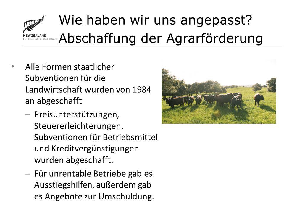 Alle Formen staatlicher Subventionen für die Landwirtschaft wurden von 1984 an abgeschafft – Preisunterstützungen, Steuererleichterungen, Subventionen für Betriebsmittel und Kreditvergünstigungen wurden abgeschafft.