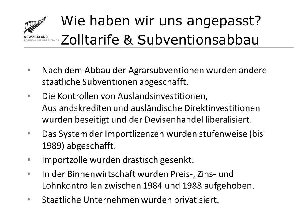 Nach dem Abbau der Agrarsubventionen wurden andere staatliche Subventionen abgeschafft.