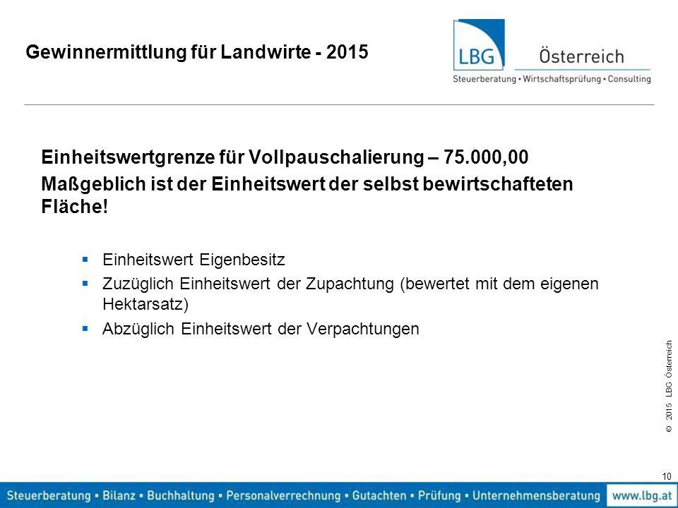 © 2015 LBG Österreich Gewinnermittlung für Landwirte - 2015 Einheitswertgrenze für Vollpauschalierung – 75.000,00 Maßgeblich ist der Einheitswert der