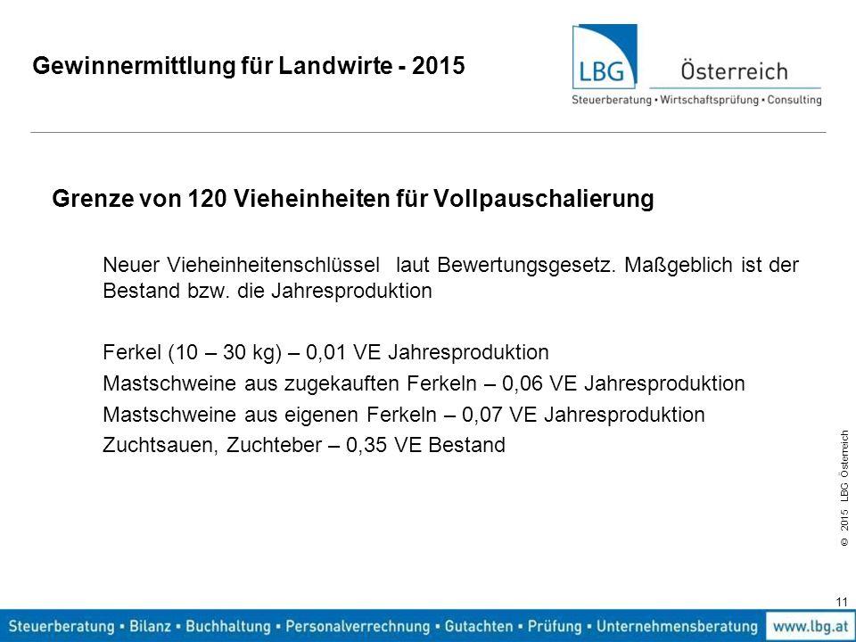 © 2015 LBG Österreich Gewinnermittlung für Landwirte - 2015 Grenze von 120 Vieheinheiten für Vollpauschalierung Neuer Vieheinheitenschlüssel laut Bewe