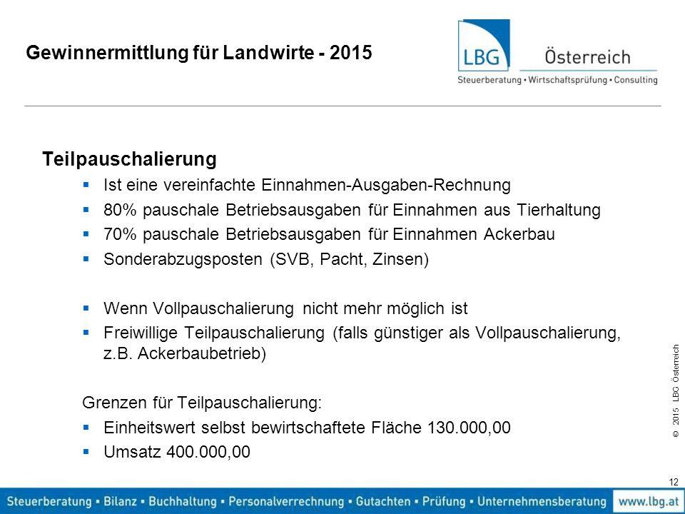 © 2015 LBG Österreich Gewinnermittlung für Landwirte - 2015 Teilpauschalierung  Ist eine vereinfachte Einnahmen-Ausgaben-Rechnung  80% pauschale Bet