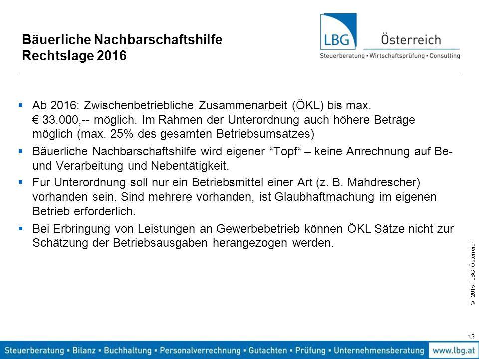 © 2015 LBG Österreich 13 Bäuerliche Nachbarschaftshilfe Rechtslage 2016  Ab 2016: Zwischenbetriebliche Zusammenarbeit (ÖKL) bis max. € 33.000,-- mögl