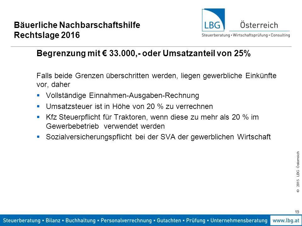 © 2015 LBG Österreich 19 Bäuerliche Nachbarschaftshilfe Rechtslage 2016 Begrenzung mit € 33.000,- oder Umsatzanteil von 25% Falls beide Grenzen übersc