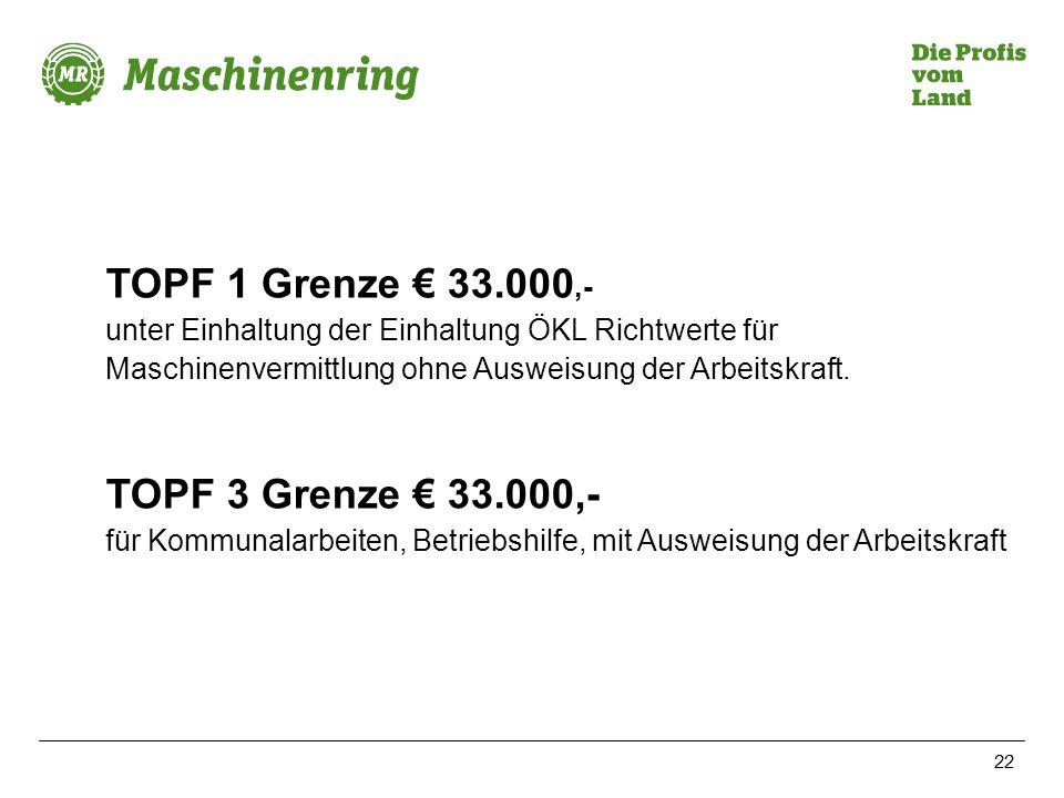 TOPF 1 Grenze € 33.000,- unter Einhaltung der Einhaltung ÖKL Richtwerte für Maschinenvermittlung ohne Ausweisung der Arbeitskraft. TOPF 3 Grenze € 33.