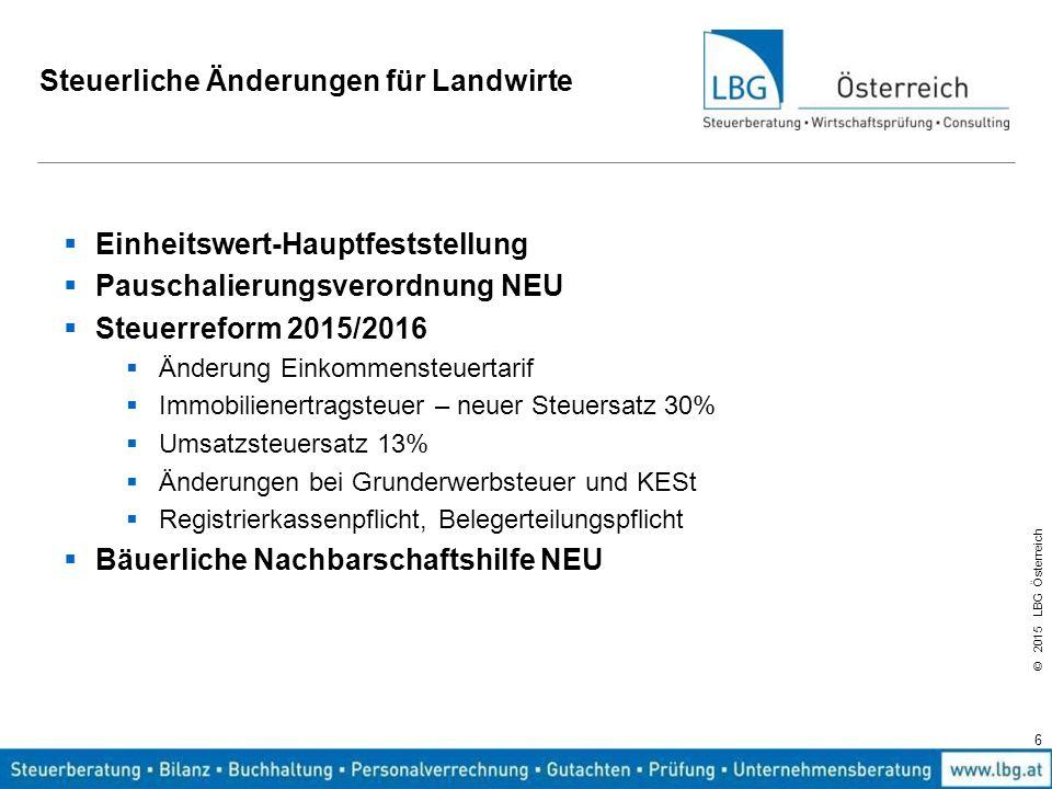 © 2015 LBG Österreich Steuerliche Änderungen für Landwirte  Einheitswert-Hauptfeststellung  Pauschalierungsverordnung NEU  Steuerreform 2015/2016 