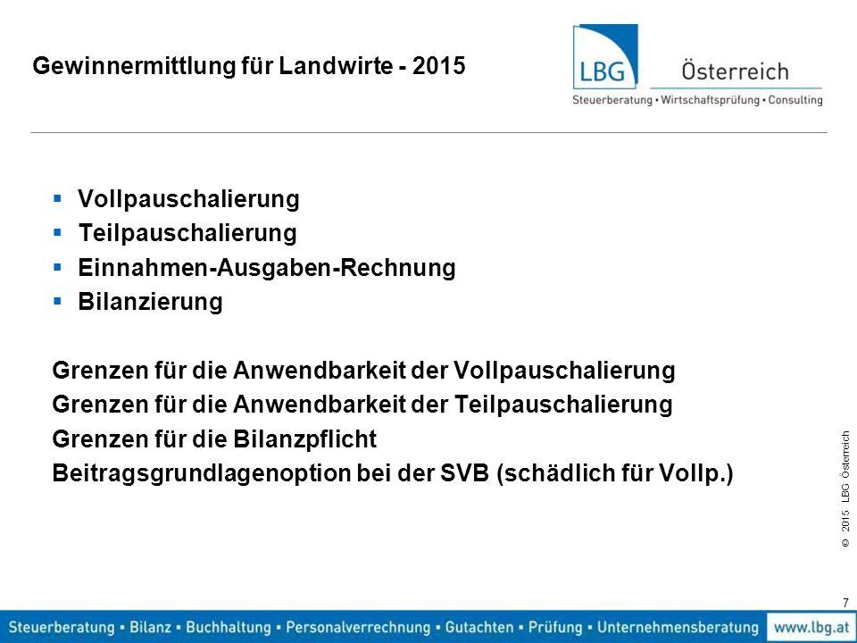 © 2015 LBG Österreich Gewinnermittlung für Landwirte - 2015  Vollpauschalierung  Teilpauschalierung  Einnahmen-Ausgaben-Rechnung  Bilanzierung Gre
