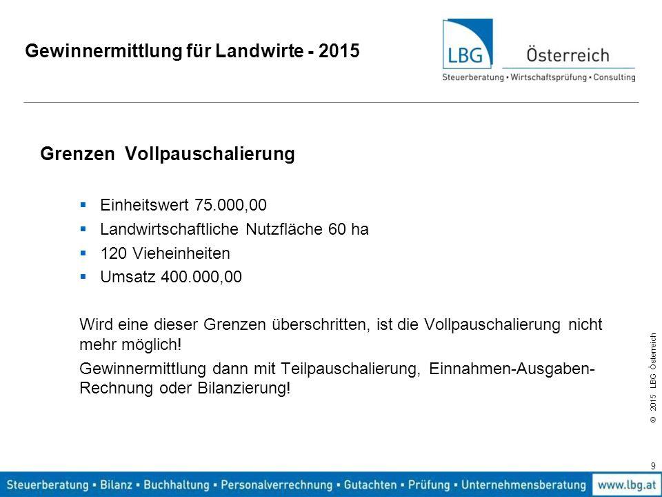© 2015 LBG Österreich Gewinnermittlung für Landwirte - 2015 Einheitswertgrenze für Vollpauschalierung – 75.000,00 Maßgeblich ist der Einheitswert der selbst bewirtschafteten Fläche.