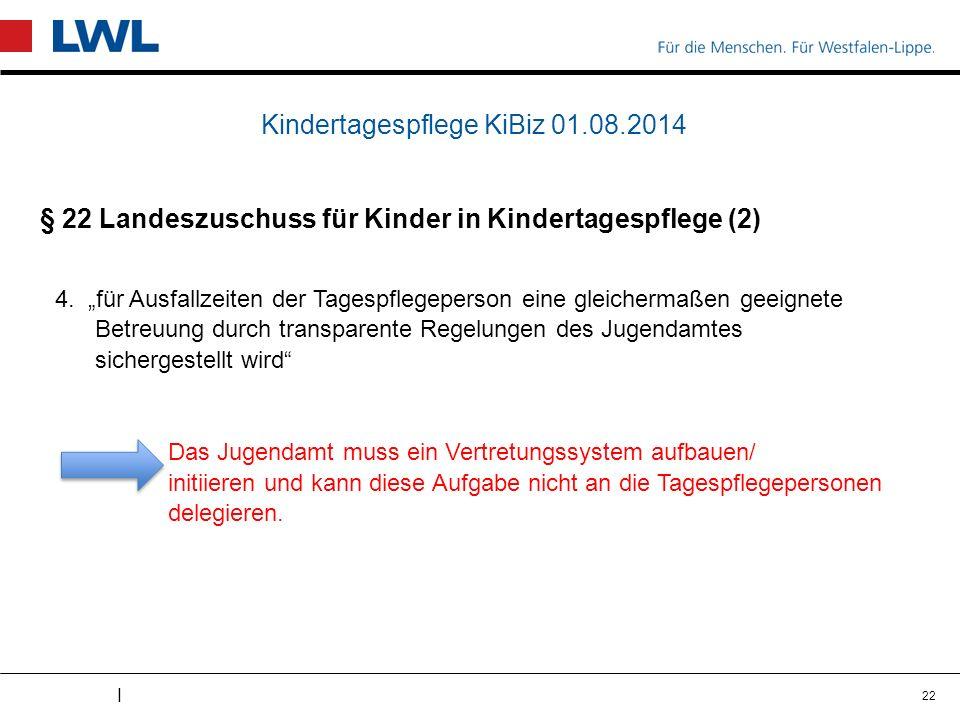 I Kindertagespflege KiBiz 01.08.2014 § 22 Landeszuschuss für Kinder in Kindertagespflege (2) 4.