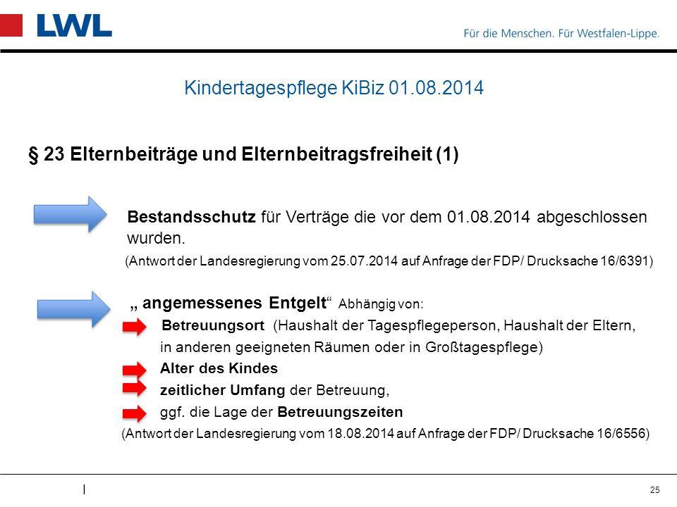 I Kindertagespflege KiBiz 01.08.2014 § 23 Elternbeiträge und Elternbeitragsfreiheit (1) Bestandsschutz für Verträge die vor dem 01.08.2014 abgeschlossen wurden.
