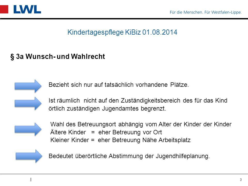 I Kindertagespflege KiBiz 01.08.2014 § 3a Wunsch- und Wahlrecht Bezieht sich nur auf tatsächlich vorhandene Plätze.