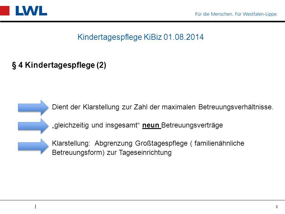 I Kindertagespflege KiBiz 01.08.2014 § 4 Kindertagespflege (2) Dient der Klarstellung zur Zahl der maximalen Betreuungsverhältnisse.