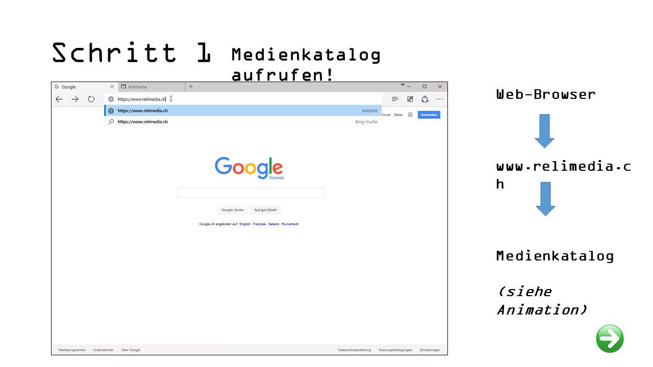Schritt 1 Medienkatalog aufrufen! Web-Browser www.relimedia.c h Medienkatalog (siehe Animation)