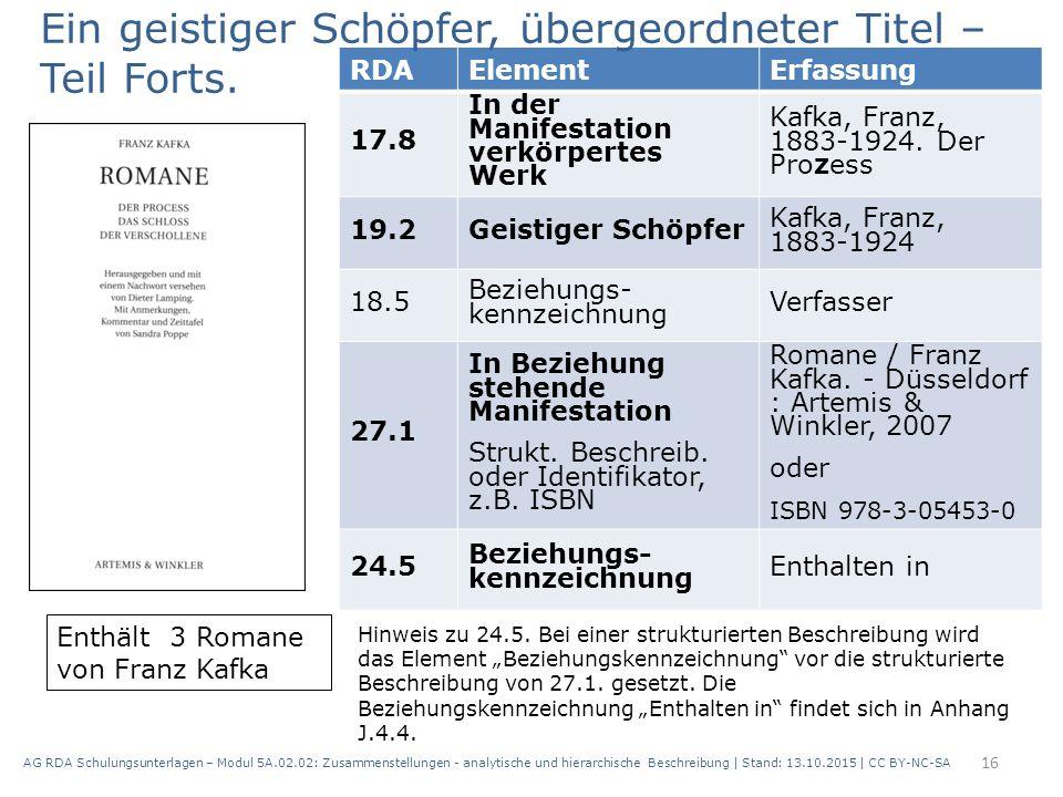 AG RDA Schulungsunterlagen – Modul 5A.02.02: Zusammenstellungen - analytische und hierarchische Beschreibung | Stand: 13.10.2015 | CC BY-NC-SA 16 RDAE