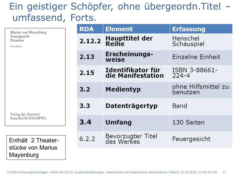 AG RDA Schulungsunterlagen – Modul 5A.02.02: Zusammenstellungen - analytische und hierarchische Beschreibung | Stand: 13.10.2015 | CC BY-NC-SA 27 RDAE