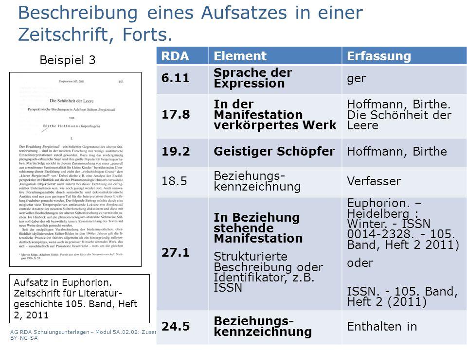 AG RDA Schulungsunterlagen – Modul 5A.02.02: Zusammenstellungen - analytische und hierarchische Beschreibung | Stand: 13.10.2015 | CC BY-NC-SA 34 RDAE