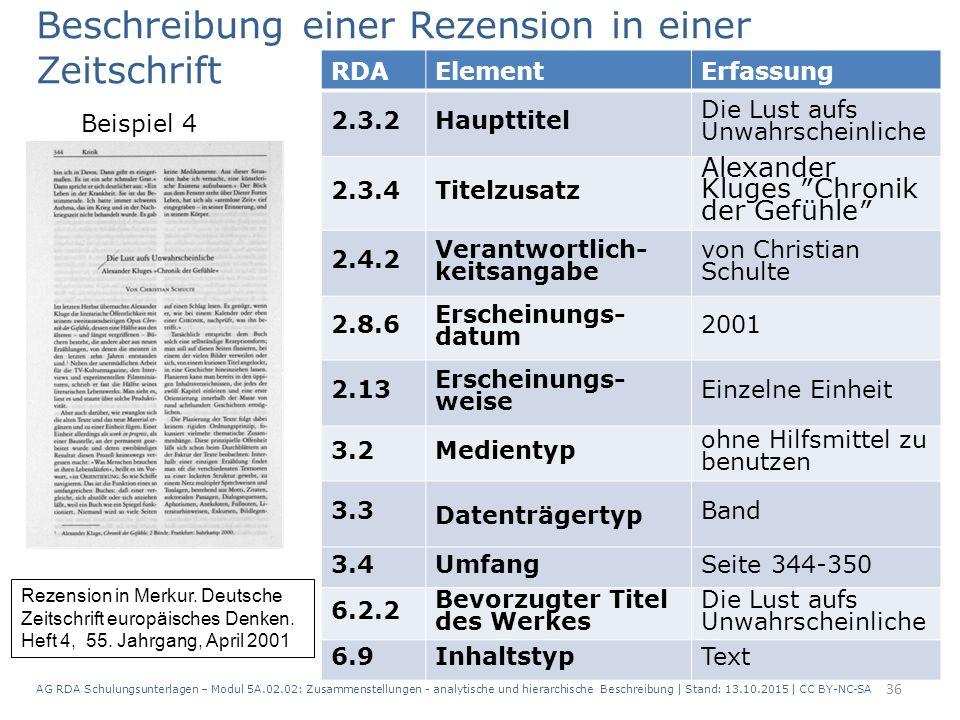AG RDA Schulungsunterlagen – Modul 5A.02.02: Zusammenstellungen - analytische und hierarchische Beschreibung | Stand: 13.10.2015 | CC BY-NC-SA 36 RDAE