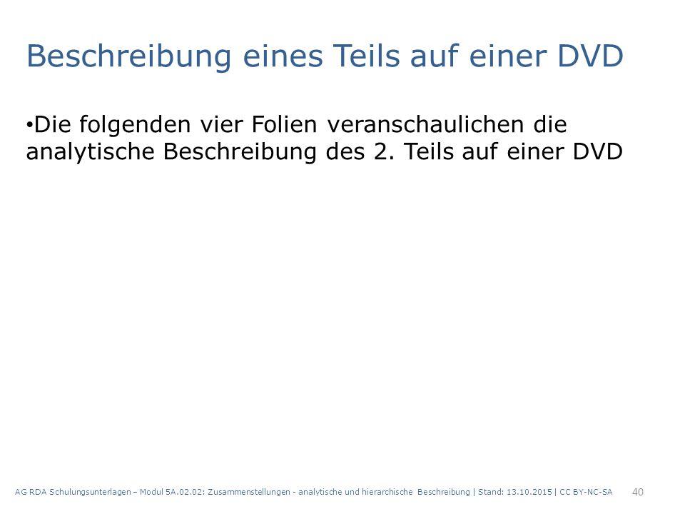 Beschreibung eines Teils auf einer DVD Die folgenden vier Folien veranschaulichen die analytische Beschreibung des 2. Teils auf einer DVD AG RDA Schul