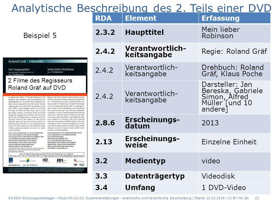 AG RDA Schulungsunterlagen – Modul 5A.02.02: Zusammenstellungen - analytische und hierarchische Beschreibung | Stand: 13.10.2015 | CC BY-NC-SA 41 RDAE