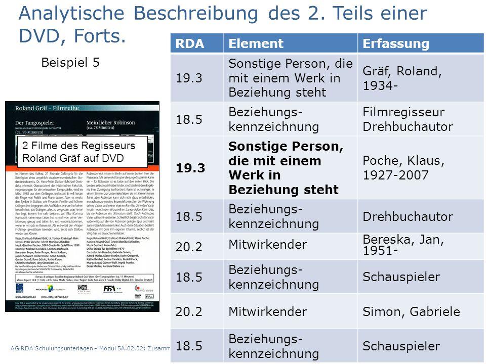 AG RDA Schulungsunterlagen – Modul 5A.02.02: Zusammenstellungen - analytische und hierarchische Beschreibung | Stand: 13.10.2015 | CC BY-NC-SA 43 RDAE
