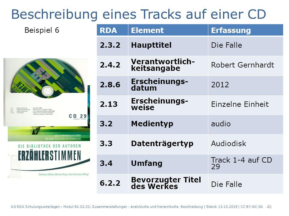 AG RDA Schulungsunterlagen – Modul 5A.02.02: Zusammenstellungen - analytische und hierarchische Beschreibung | Stand: 13.10.2015 | CC BY-NC-SA 46 RDAE