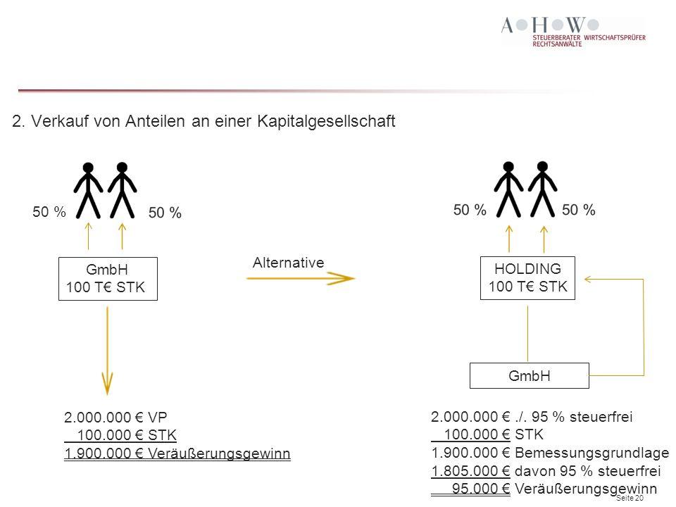 Seite 20 2. Verkauf von Anteilen an einer Kapitalgesellschaft Alternative 50 % GmbH 100 T€ STK 2.000.000 € VP 100.000 € STK 1.900.000 € Veräußerungsge