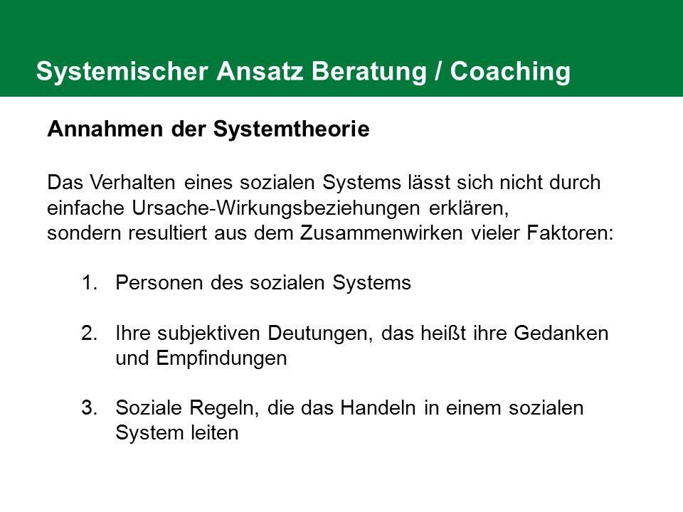 Systemischer Ansatz Beratung / Coaching Annahmen der Systemtheorie Das Verhalten eines sozialen Systems lässt sich nicht durch einfache Ursache-Wirkun